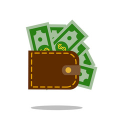 leather wallet purse icon money sign vector image