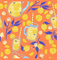 lemonade and lemons seamless pattern vector image