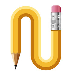 Letter n pencil icon cartoon style vector