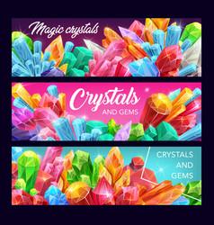 Magic crystals presious gemstones and minerals vector