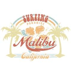 Malibu surfing paradise vector image