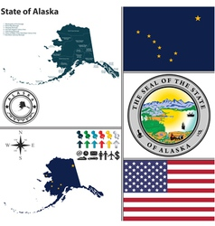 Map of Alaska with seal vector