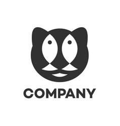 Modern logo black cat and fish vector