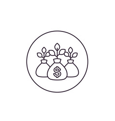 Money bag income growth project financing icon vector