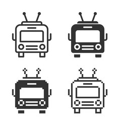Monochromatic trolleybus icon in different vector