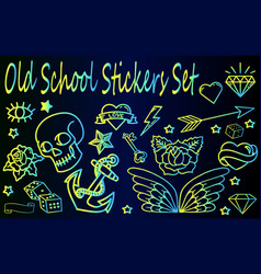 old school stickers set vector image