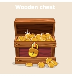 Opened antique treasure chest with coins vector