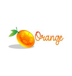 organic logo orange logo leafs on hand logo vector image