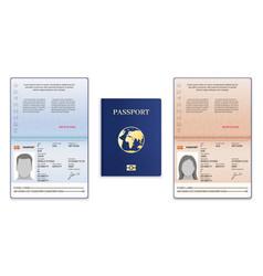 Passport template international open passport vector