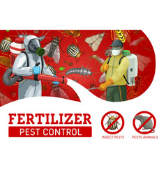 pest control service workers spraying insecticide vector image