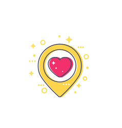 Pinpoint with heart dating icon vector