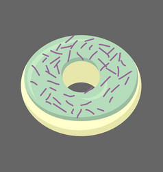 Pistachio donut isolated baking sweets on white vector