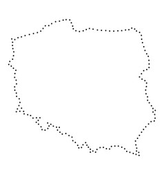 poland abstract schematic map from the black dots vector image