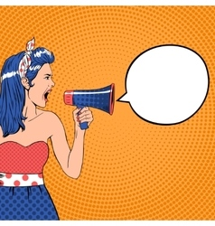 Pop art girl with speech bubble and megaphone vector