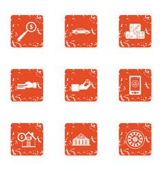 remuneration icons set grunge style vector image