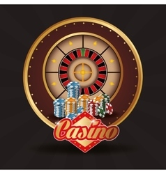 Roulette chips casino las vegas icon vector