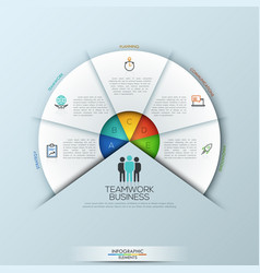 Rounded infographic design layout with 5 sectoral vector