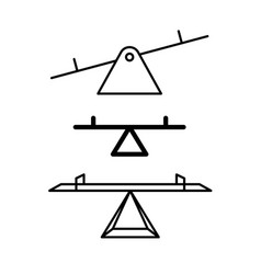 seesaw balance icons three see saw line style vector image