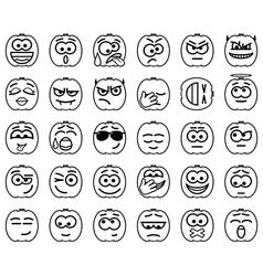 Set halloween smileys vector