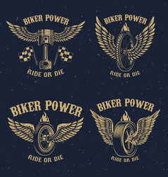 set vintage motorcycle emblems winged piston vector image