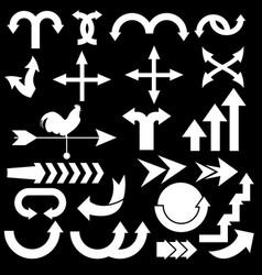 set white arrow on black background vector image