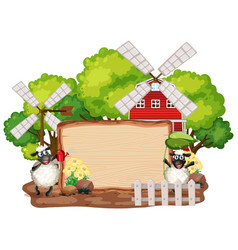 Sign template with animals in garden background vector