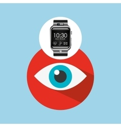 Smart watch on hand- eye icon vector