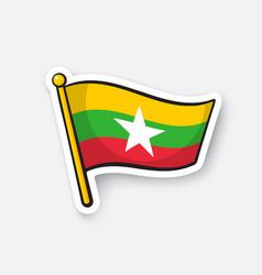 Sticker flag myanmar vector