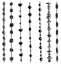 String beads set black and white vector