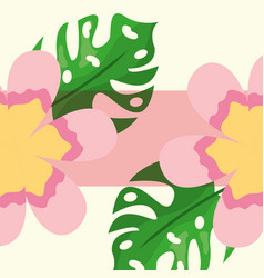 tropical leaves monstera palms and exotic flowers vector image