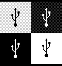 usb symbol icon isolated on black white and vector image
