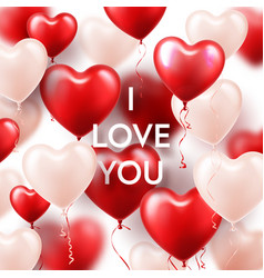 valentines day background with white red heart vector image