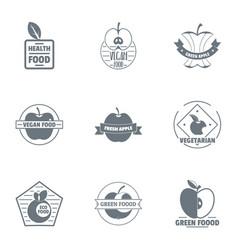 vegan food logo set simple style vector image