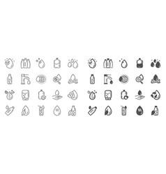 water drop line icons set bottle vector image