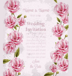 Watercolor pink wild roses card beautiful vector