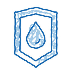 Waterproof material guard doodle icon hand drawn vector
