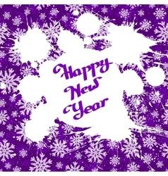 white ink splashes over violet snowflakes vector image