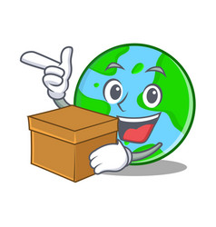 with box world globe character cartoon vector image