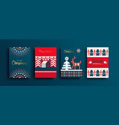 year folk deer geometric card set vector image
