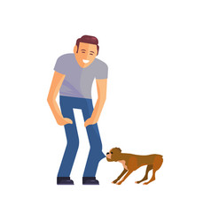 young man with his dog vector image
