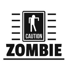 Zombie danger logo simple black style vector