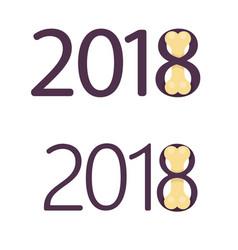 bones for dog flat logo 2018 new year vector image