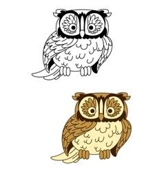 Brown and colorless cartoon owl bird mascot vector image