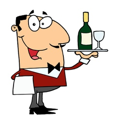 Friendly Caucasian Male Butler Serving Wine vector image vector image