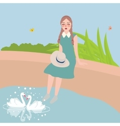 girl sitting with foot in water looking at two vector image vector image