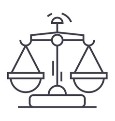 law and justice line icon sign vector image