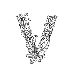 Letter V coloring book for adults vector image