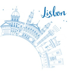 Outline Lisbon Skyline with Blue Buildings vector image vector image