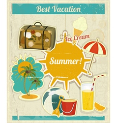 Summer Vacation Card in Vintage Retro Style vector image