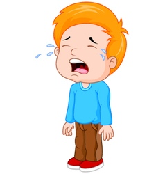 young boy crying vector image vector image
